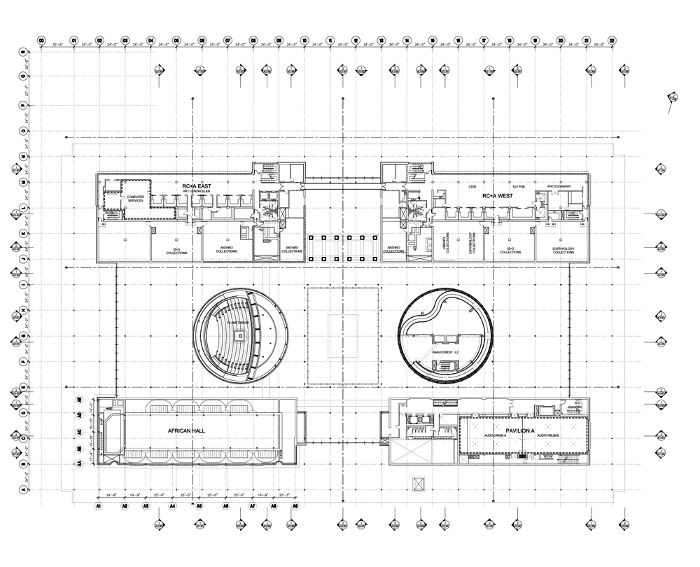 California academy of sciences upper floor plan drawing